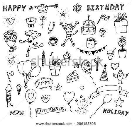 simple birthday party drawings ; stock-vector-set-of-decoration-happy-birthday-stylish-fun-invitation-sketch-icons-for-holiday-days-celebration-296153795