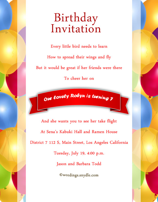 Son birthday invitation wording best happy birthday wishes son birthday invitation wording 7th birthday invitation wordings sample for filmwisefo