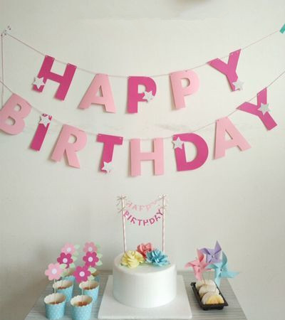 star birthday banner ; New-Rose-Baby-Pink-Happy-Birthday-Banners-Party-Decoration-Home-Decor-Baby-Shower-Birthday-Silver-Star