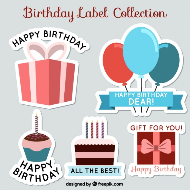sticker happy birthday free ; collection-of-flat-birthday-stickers_23-2147597562