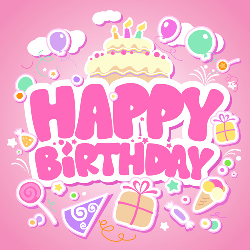 sticker happy birthday free ; creative_happy_birthday_design_elements_vector_art_523373