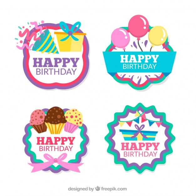 sticker happy birthday free ; pack-of-four-retro-birthday-stickers_23-2147642371