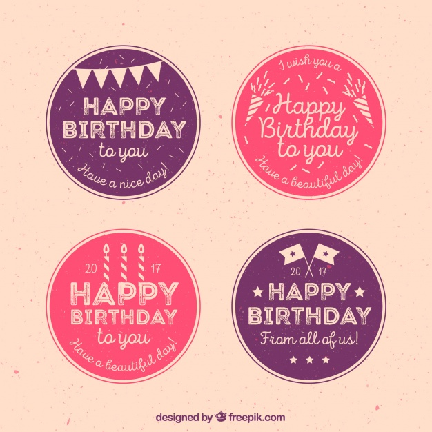 sticker happy birthday free ; pack-of-happy-birthday-vintage-circular-stickers_23-2147600853