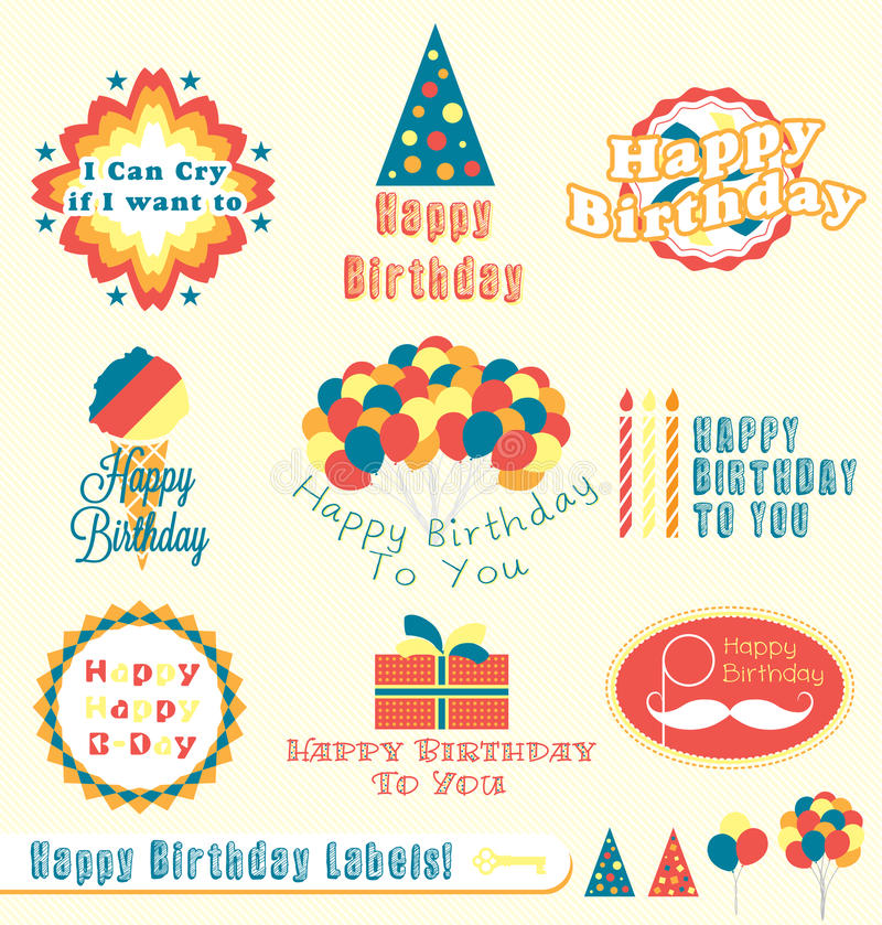 stickers de happy birthday ; retro-happy-birthday-labels-stickers-27090008