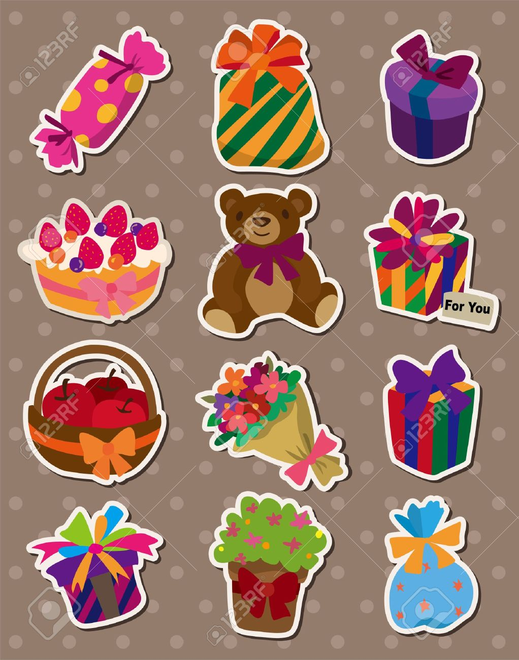 stickers for birthday presents ; 13056732-cartoon-gift-stickers