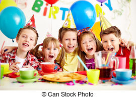 stock image birthday ; birthday-party-group-of-adorable-kids-having-fun-at-birthday-party-stock-photo_csp11779641