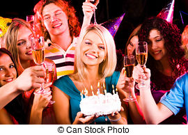 stock image birthday ; birthday-party-portrait-of-joyful-girl-holding-birthday-cake-surrounded-by-friends-at-party-stock-photo_csp5121102