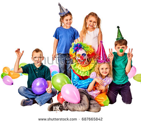 stock image birthday ; stock-photo-birthday-child-clown-playing-with-children-and-bunny-fingers-prank-kid-holiday-cakes-celebratory-687665842