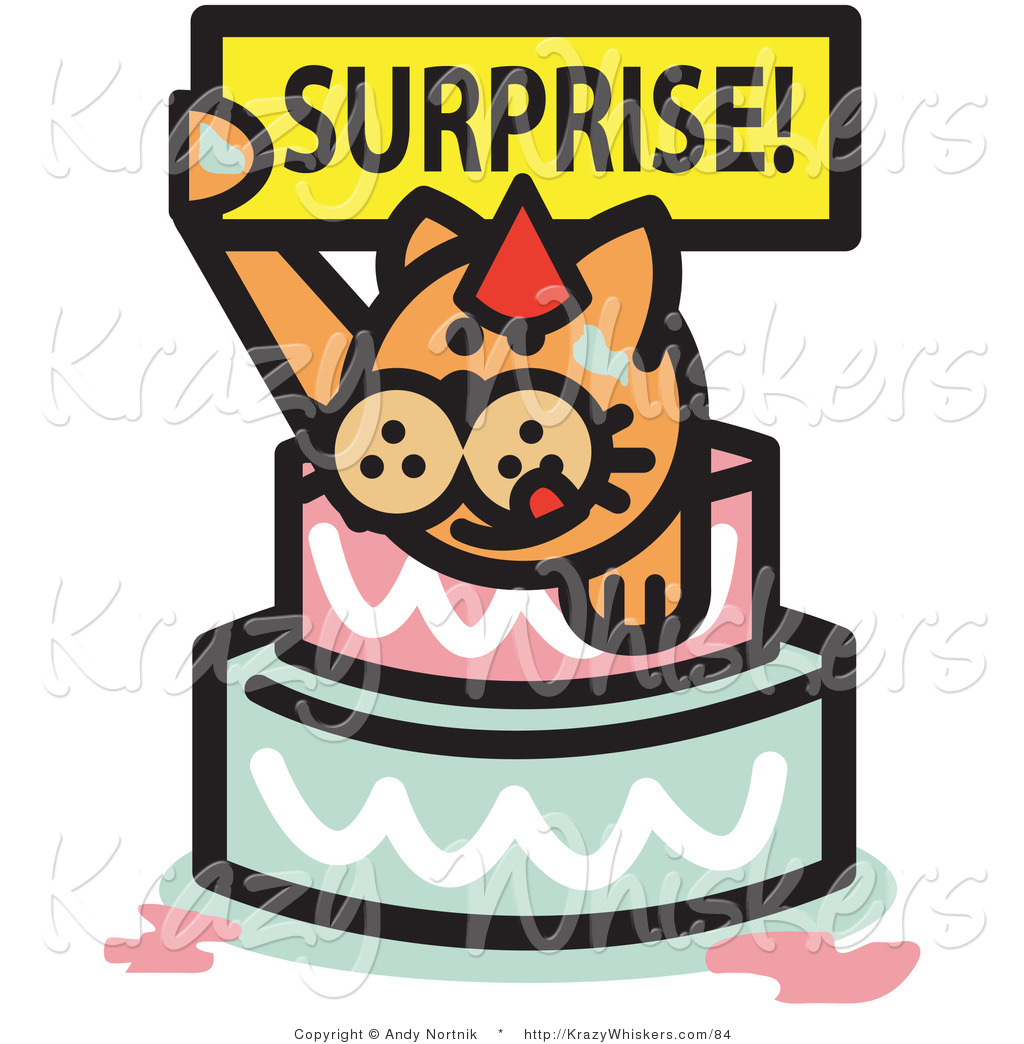 surprise birthday clipart ; critter-clipart-of-an-orange-birthday-cat-holding-a-surprise-sign-and-popping-out-of-a-birthday-cake-by-andy-nortnik-84