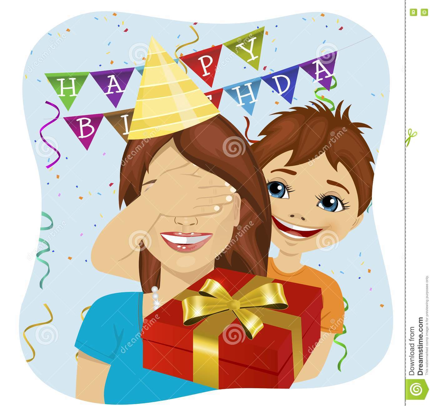 surprise birthday clipart ; cute-son-covering-her-mother-eyes-giving-surprise-gift-birthday-anniversary-party-73965186