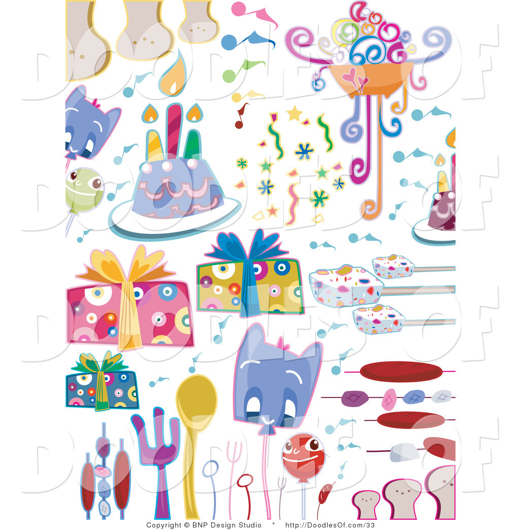 surprise birthday clipart ; vector-clipart-of-a-digital-collage-of-birthday-party-doodle-items-on-white-by-bnp-design-studio-33