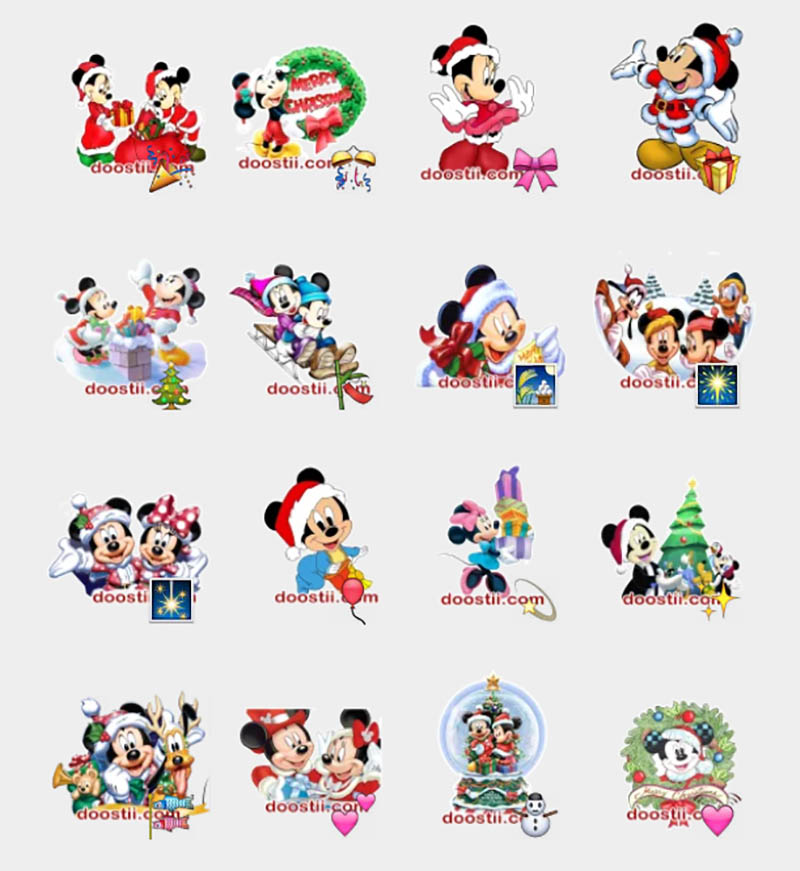 telegram birthday stickers ; Mickey-Mouse-Christmas