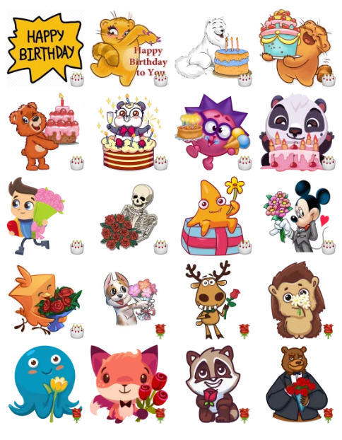 telegram birthday stickers ; birthday