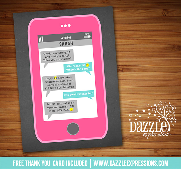 text message birthday cards ; cell-phone-text-invitation-1-free-thank-you-card_printable-cell-phone-text-message-chalkboard-birthday-invi-on-birthday-party-invitations-for-h