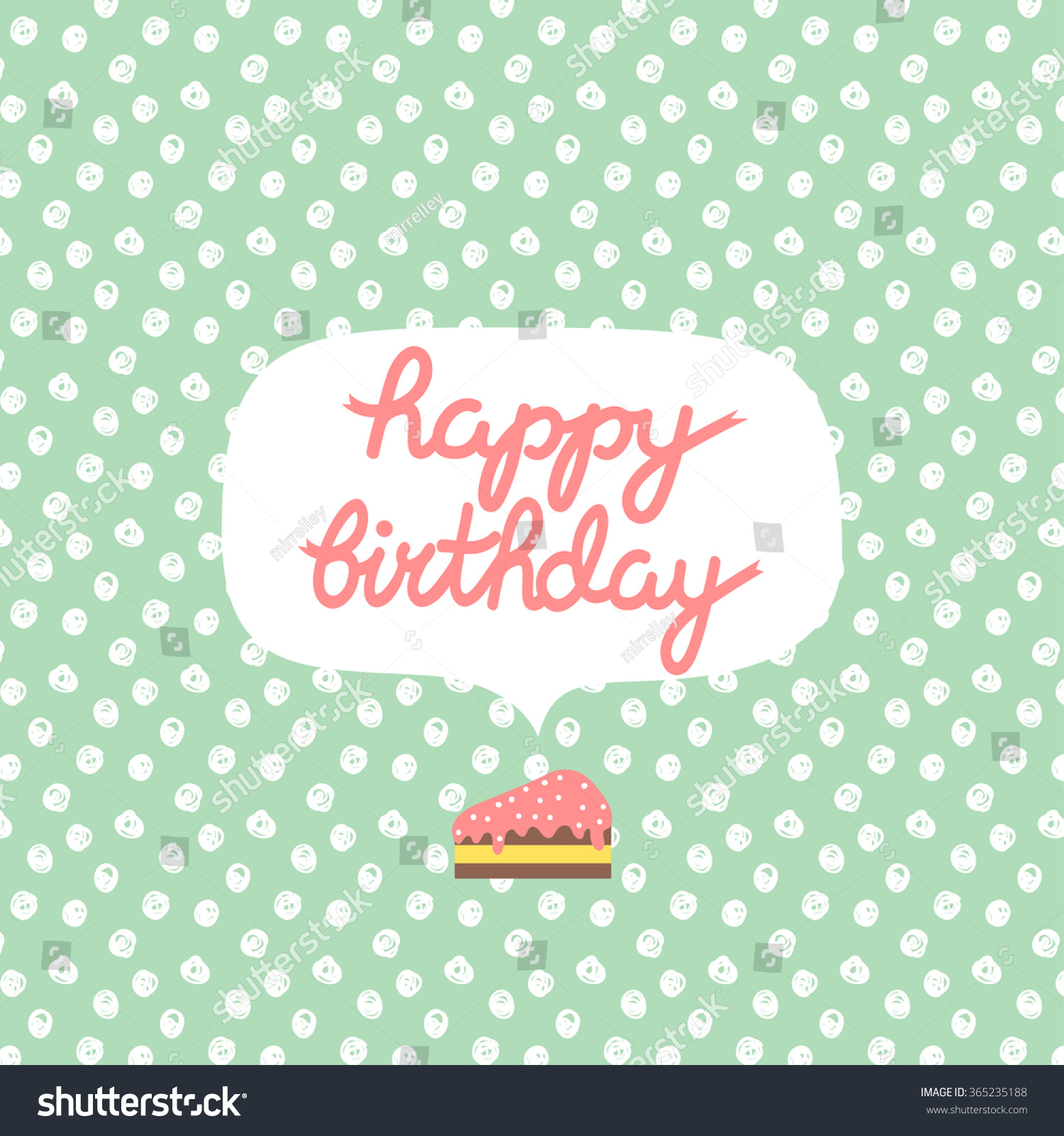 text message birthday cards ; stock-vector-poster-with-happy-birthday-text-message-on-pastel-green-polka-dots-background-with-slice-of-cake-365235188