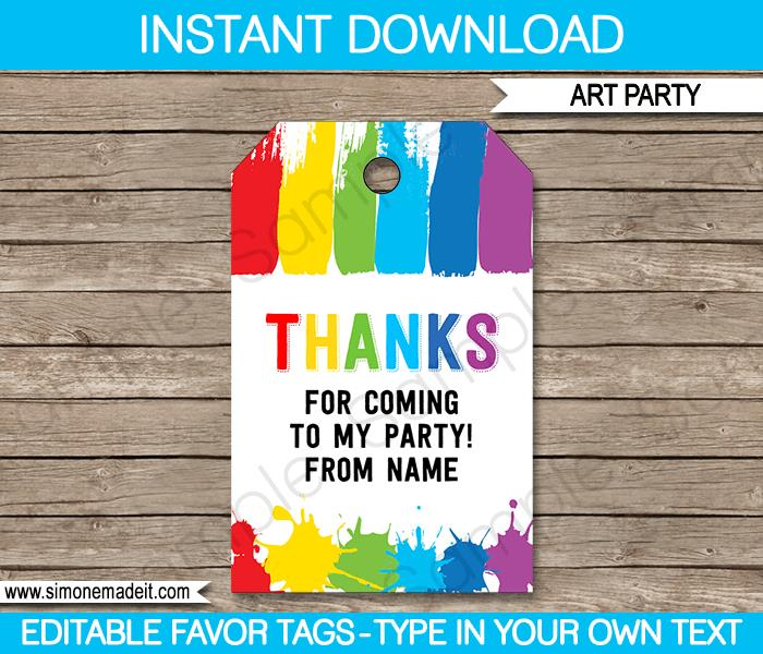 thank you for coming to my birthday tags ; Art-Party-Favor-Tags1