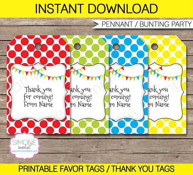 thank you for coming to my birthday tags ; Pennant-Favor-Tags2
