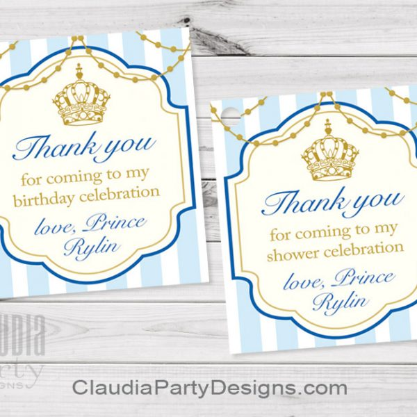 thank you for coming to my birthday tags ; royal-prince-favor-tags-600x600