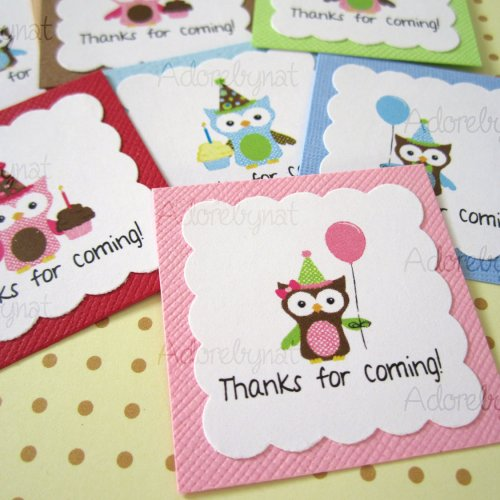 thank you for coming to my birthday tags ; thanks_for_coming_owl_party_favor_tag_t022_--_set_of_12_a716ee2a