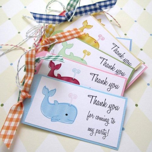 thank you for coming to my birthday tags ; whale_thank_you_tags_--_set_of_10_34dc1f72