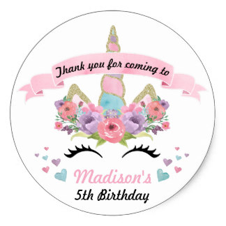 thank you stickers for birthday ; 3-8cm-Magical-Unicorn-Birthday-Party-Thank-You-Stickers