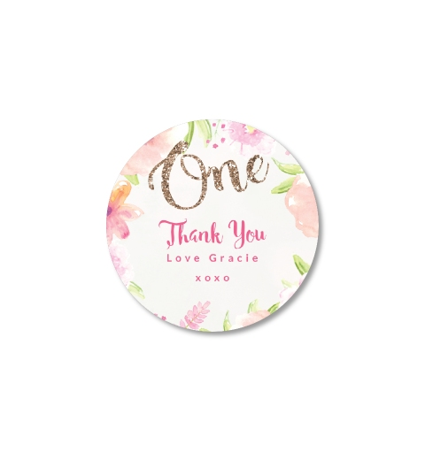 thank you stickers for birthday ; Golden-Floral-First-Birthday-Thank-You-Sticker-One-Colour-5cm-Round-StickerR