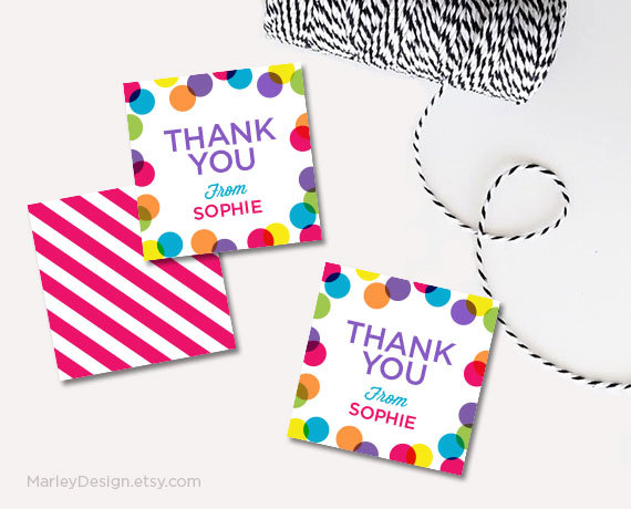 thank you stickers for birthday ; personalized-thank-you-tags-birthday-tags-bright-polka-dots-thank-you-birthday-labels