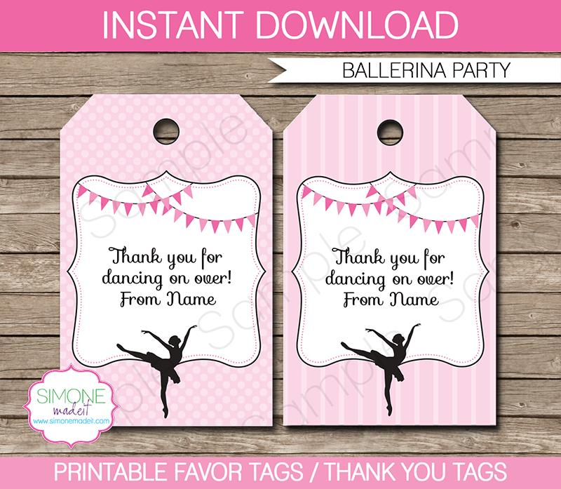thank you tag for birthday ; Ballerina-Party-Favor-Tags1