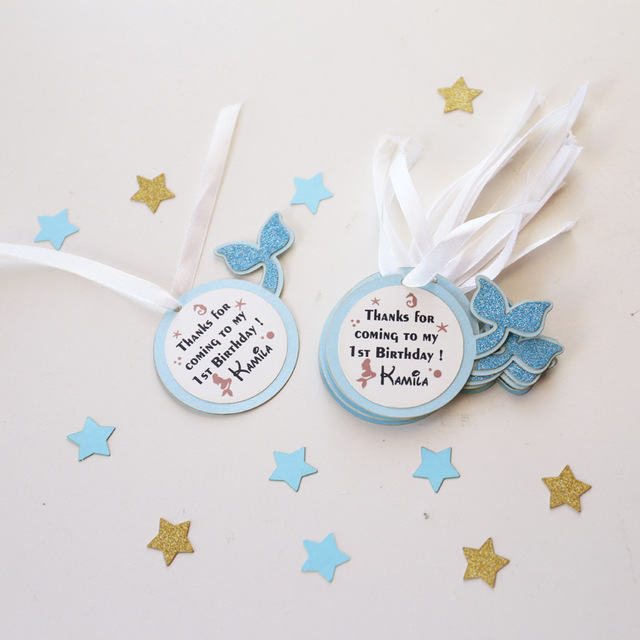 thank you tag for birthday ; Personalized-first-birthday-favor-tags-mermaid-party-gift-tags-laser-cut-baby-shower-thank-you-tags