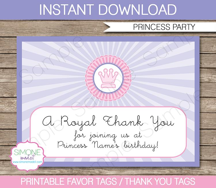 thank you tag for birthday ; Princess-Birthday-Party-Favor-Tags1