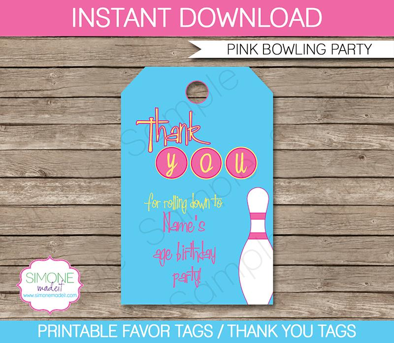 thank you tags for birthday favors ; Bowling-Pink-Party-Favor-Tags