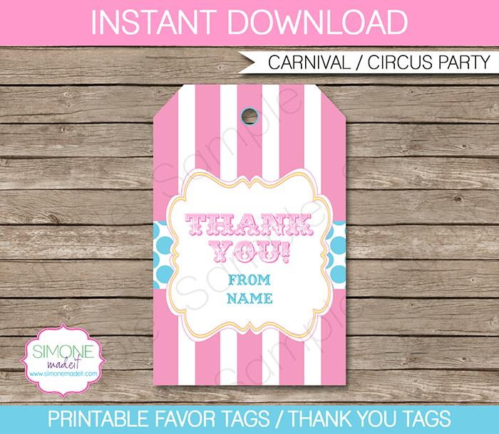 thank you tags for birthday favors ; Carnival-Pink-Aqua-800x696