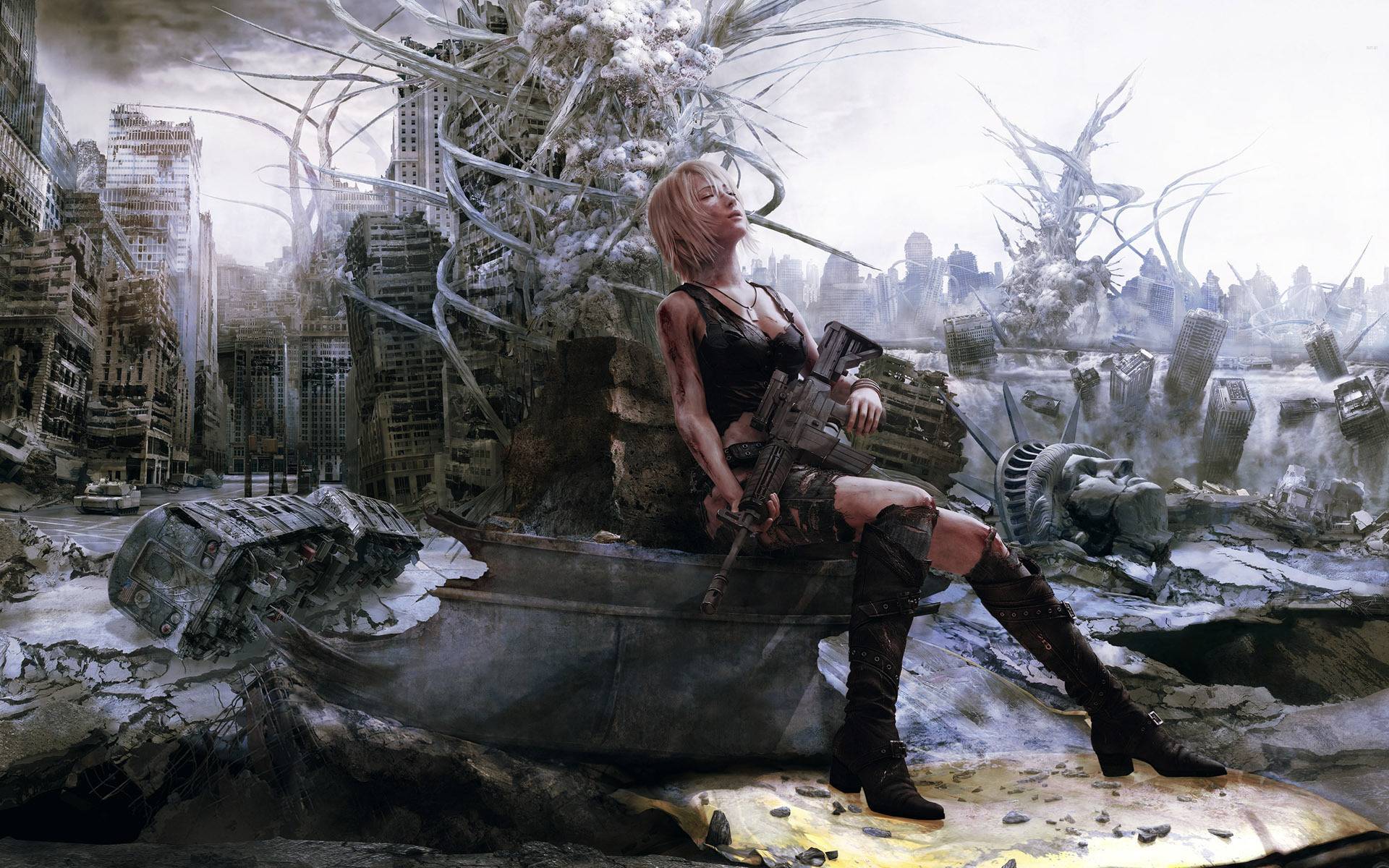 the 3rd birthday wallpaper ; gun-video-games-women-apocalyptic-snow-winter-artwork-CGI-mythology-The-3rd-Birthday-Aya-Brea-Parasite-Eve-screenshot-1920x1200-px-718062