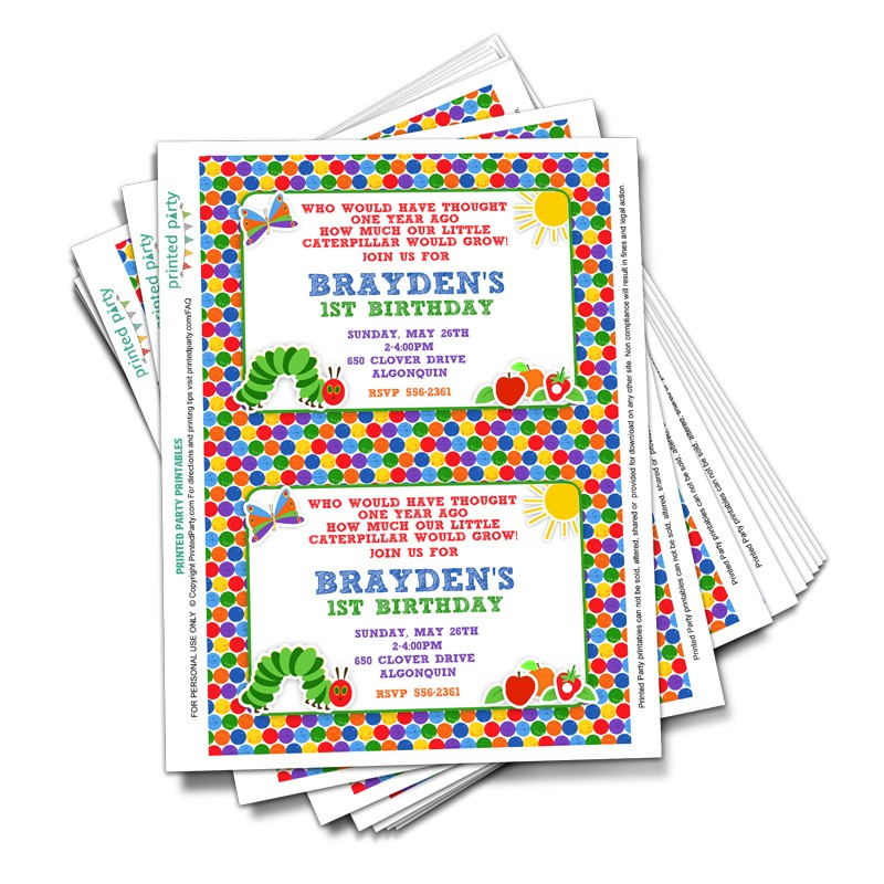 the very hungry caterpillar birthday invitation template ; hgct-tp_1