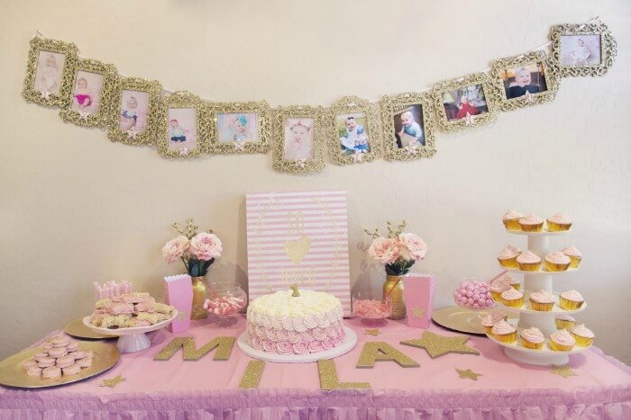 themed birthday party ideas for baby girl ; pinkgold1