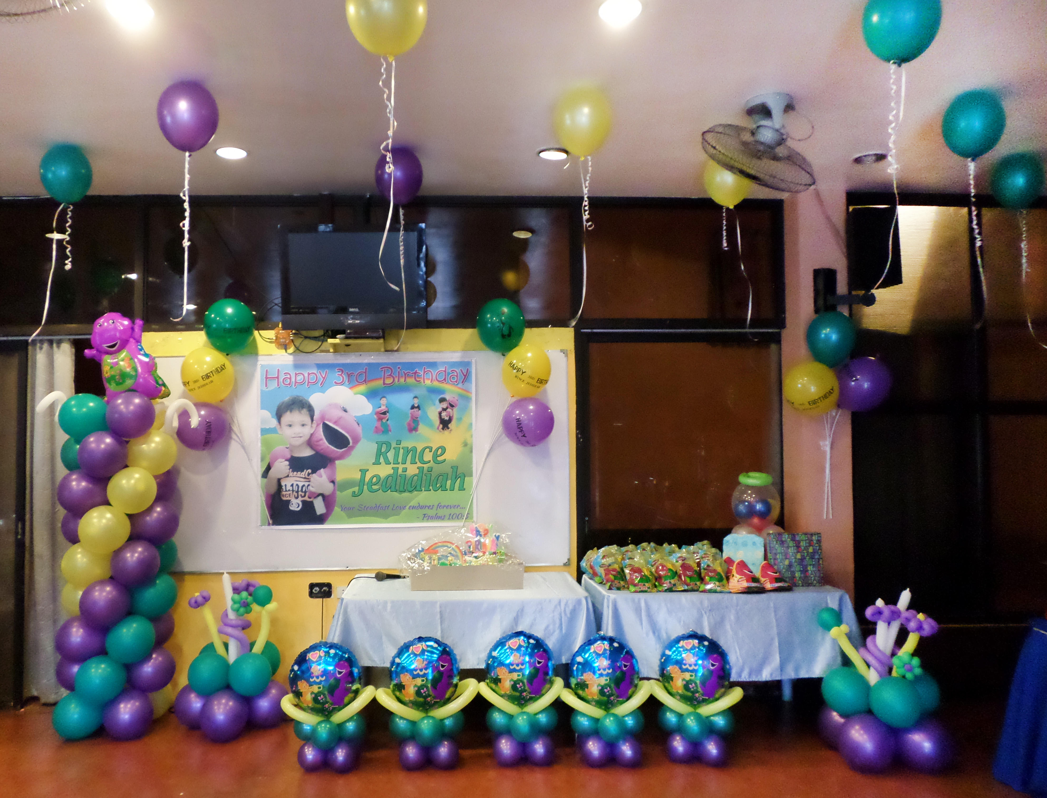 themed birthday party supplies ; Barney-Theme-Balloon-Decors-Party-Supplies-at-AAs-Barbeque-Guadalupe