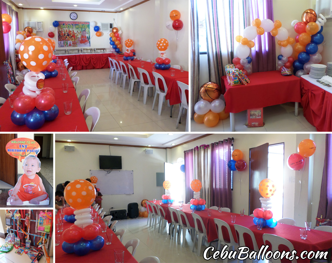themed birthday party supplies ; Basketball-Theme-Birthday-Party-Package-with-Balloon-Decoration