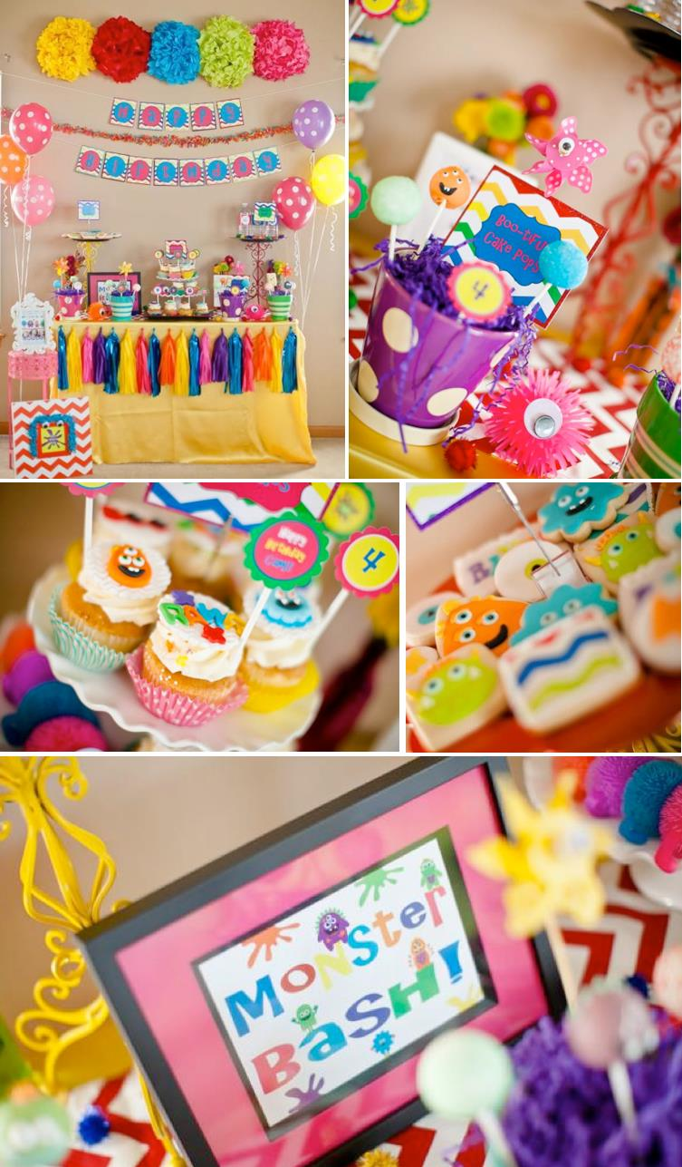 themed birthday party supplies ; THE-cutest-girly-monster-bash-themed-birthday-party-with-SO-many-cute-ideas-Via-Karas-Party-Ideas-KarasPartyIdeas