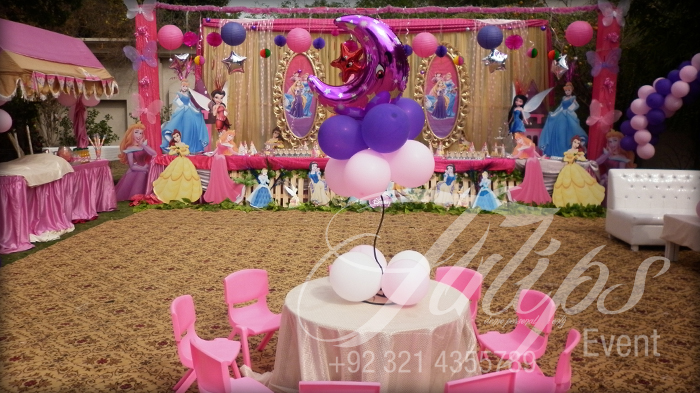 themed birthday party supplies ; disney-princess-themed-birthday-party-decoration-pakistan-10