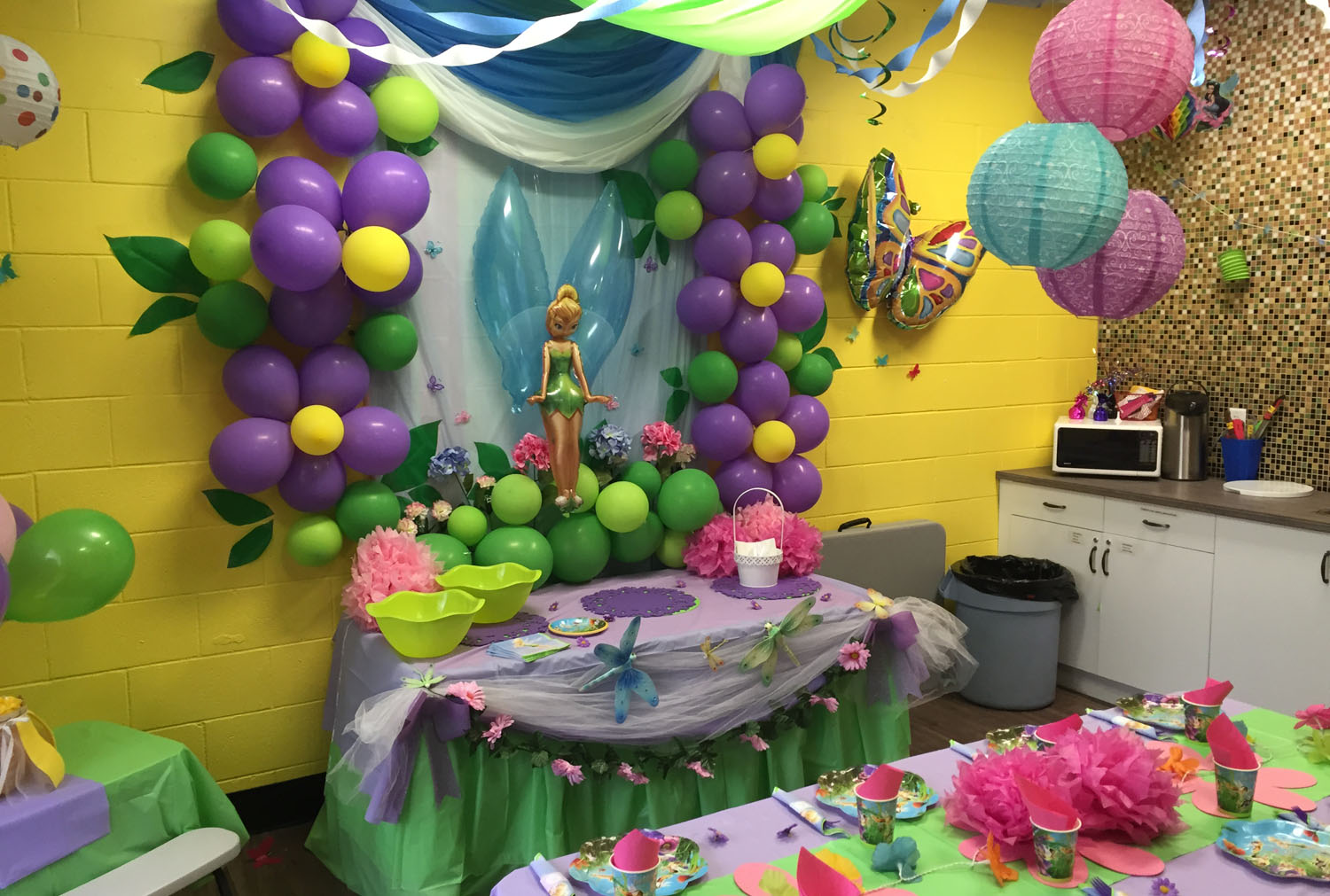 toddler birthday themes ; jump2it-kids-birthday-parties-tinker-bell