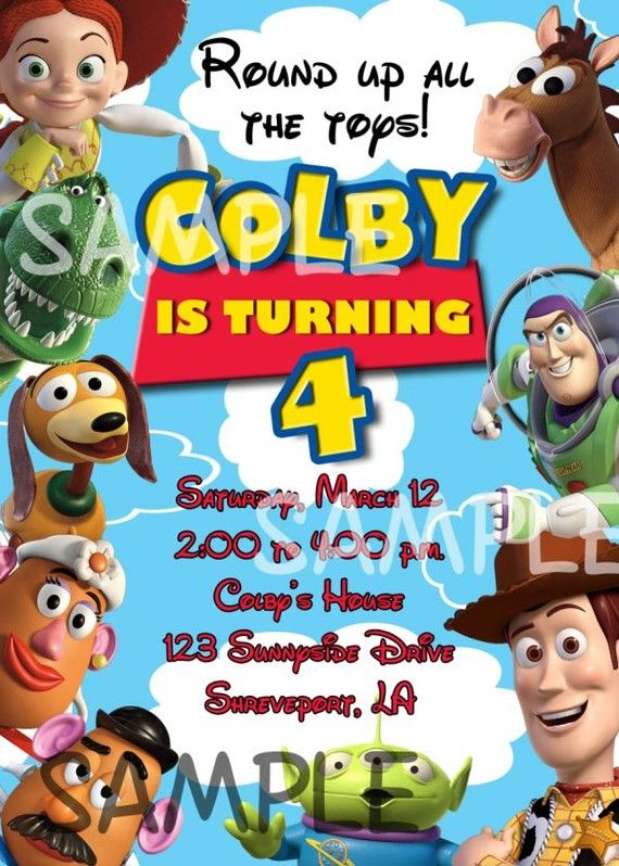 toy story photo birthday party invitations ; 4efe2afbae4541845e468a6d35ee08b0