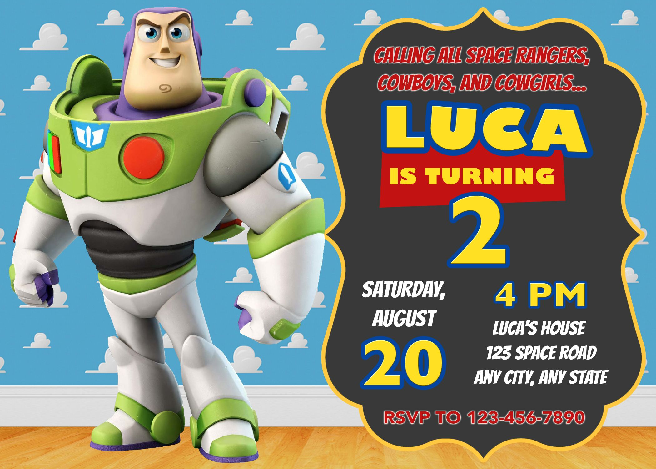 toy story photo birthday party invitations ; a7c9d89407669314f75acfc6a9815077