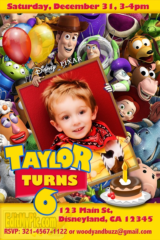 toy story photo birthday party invitations ; d61cac76edc7d660adf054c70b5cfecd