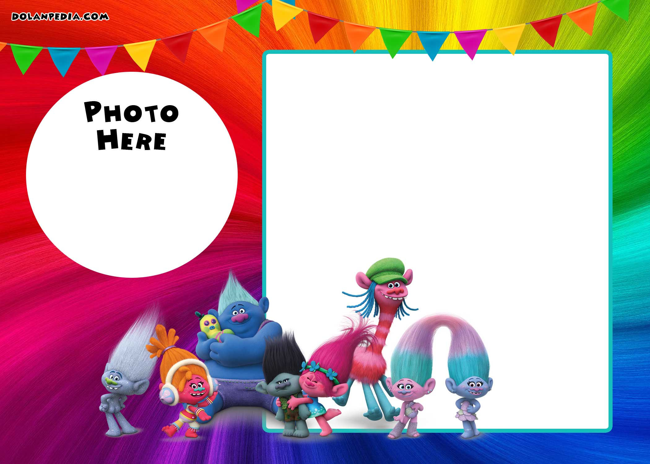 trolls birthday card printable ; FREE-Printable-Trolls-Birthday-Invitation-Template-with-Photo