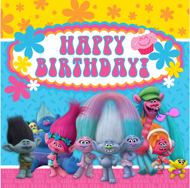 trolls happy birthday ; 8x8FT-Happy-Birthday-Trolls-Concert-Dance-Flowers-Custom-Photo-Backgrounds-Studio-Backdrops-Vinyl-240cm-x-240cm