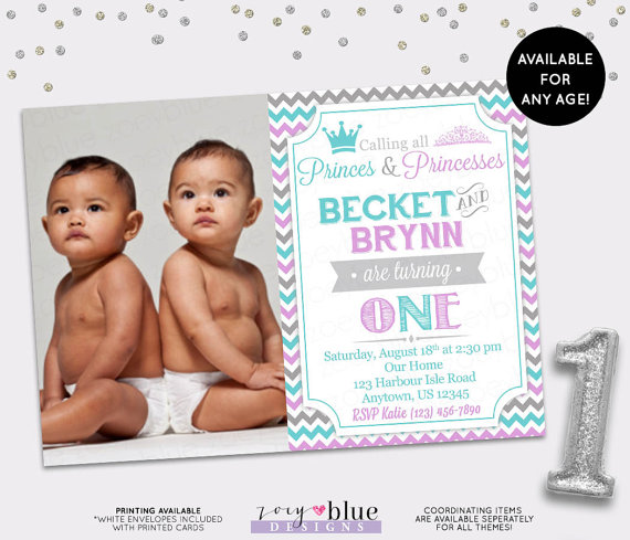 twin birthday invitations with photo ; like-this-item_prince-princess-twin-birthday-invitation-sibling-firs-on-twins-birthday-invitations-colorful-fun-first