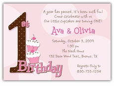 twins first birthday photo invitations ; first-birthday-dots-girl-twins-birthday-invitation-1