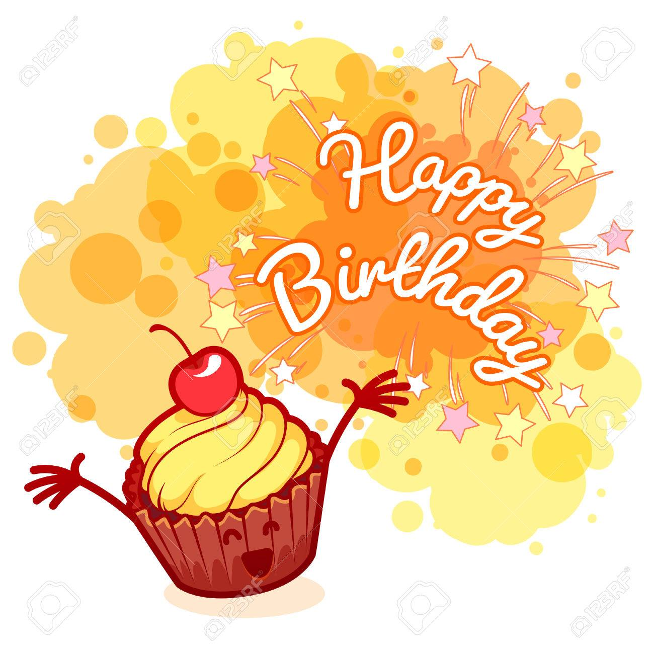 very happy birthday ; 50951864-greeting-card-happy-birthday-with-very-happy-cupcake-with-cherry-orange-blobs-on-white-background-te
