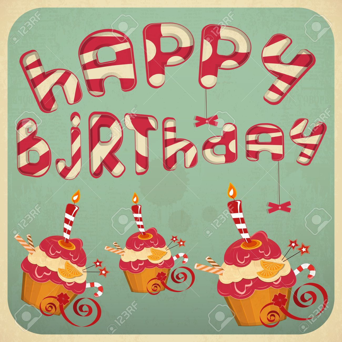 vintage birthday clipart ; 17858564-vintage-birthday-card-with-cakes-vector-illustration-
