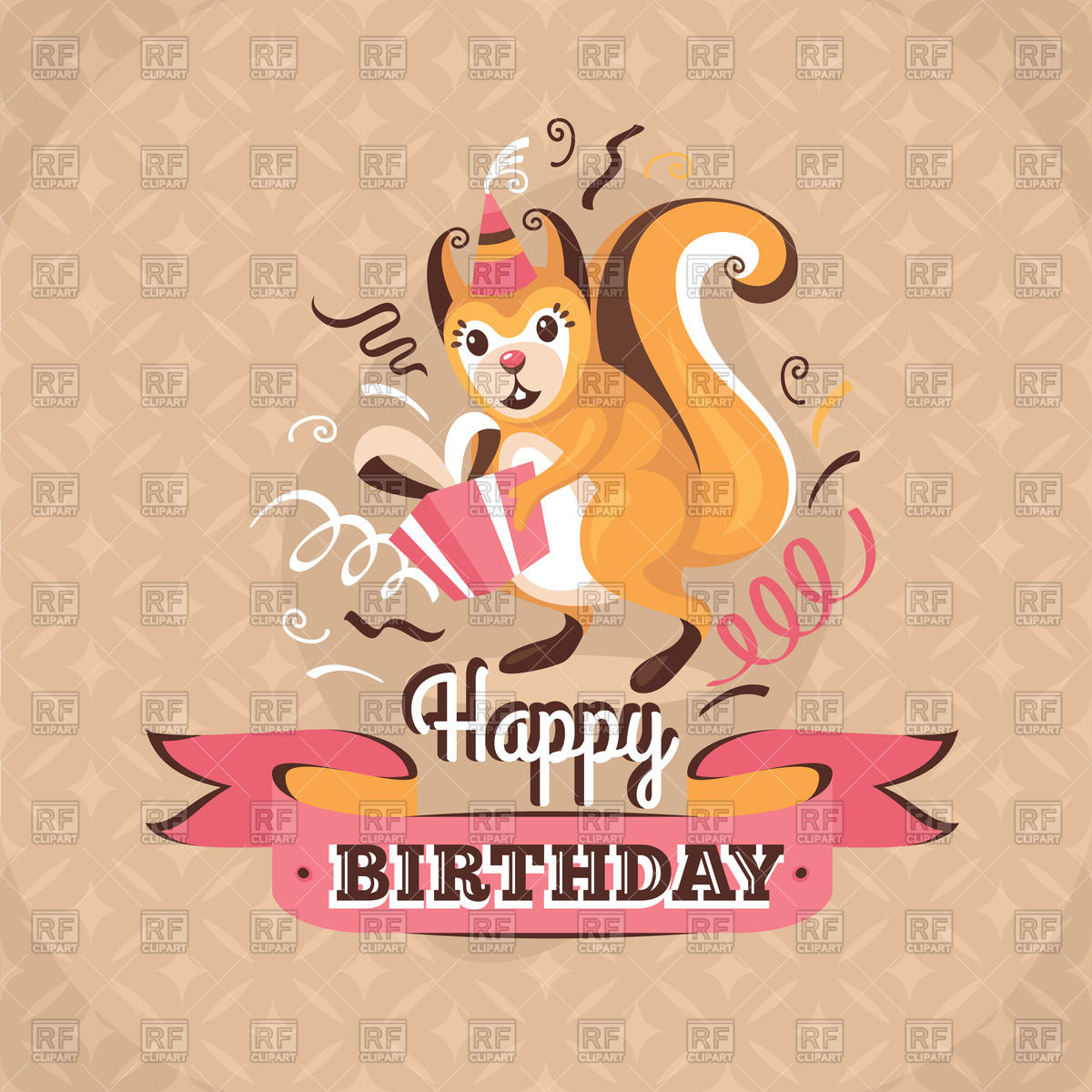 vintage birthday clipart ; vintage-birthday-card-with-squirrel-and-presents-Download-Royalty-free-Vector-File-EPS-129759